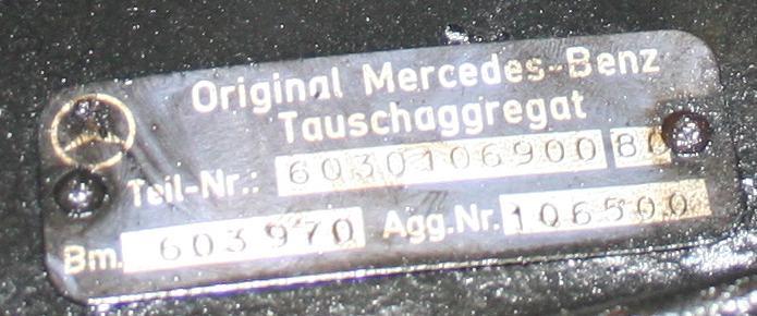 OM603 engine block number LOCATION - PeachParts Mercedes